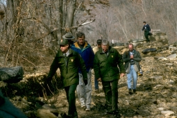 Park staff tour canal in January 1996